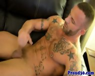 Tattooed Gay Hunk Posing While Tugging - scene 10