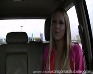 Blonde Fingers Self In Car - scene 2