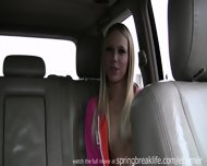 Blonde Fingers Self In Car - scene 7