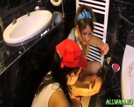 Ladies Having Some Bathroom Troubles - scene 8