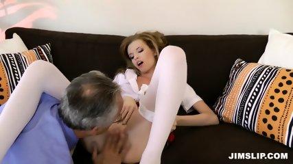 Skinny Schoolgirl Takes Older Guy's Cock - scene 5