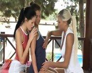 Three Girl2girl Licking Each Other Outside - scene 1
