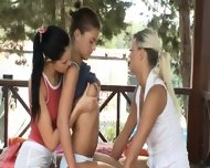 Three Girl2girl Licking Each Other Outside - scene 2