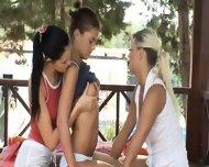 Three Girl2girl Licking Each Other Outside - scene 2