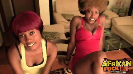 2 Horny African Girls Share Big White Cock