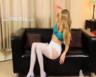 Lovely Blond In White Lingerie On Sofa - scene 6
