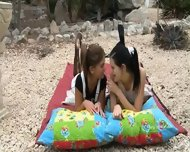 Girls Sucking Pussies In The Garden - scene 3