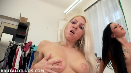 Lesbians Play With Huge Dildo - scene 6