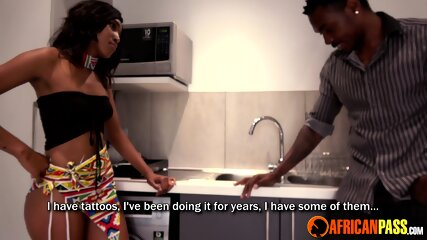 Cheating African Wife Sucks Cock In Kitchen