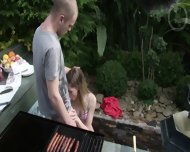 Young Skinny Blonde Fucked During BBQ - scene 5