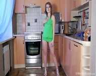 Hairy Pussy Under Green Dress - scene 1