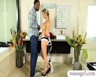 Big Tits Masseuse Gives Massage And Pleases A Big Black Cock - scene 2