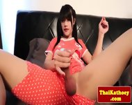 Tranny Ladyboy Solo Plays With Dildo - scene 4