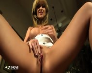 Sexy Redhead In Tiny Dress With No Panties Spreads Her Legs And Shows Her Pussy - scene 8