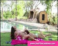 Cute Teen Girls Making Lesbian Sex Tape Outdoors - scene 8
