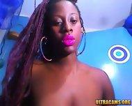 Sensual Ebony Babe Rubs Her Hairy Pussy - scene 8