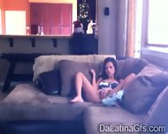 Horny Latina Tapes Herself Masturbating On The Couch - scene 1