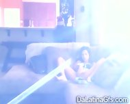 Horny Latina Tapes Herself Masturbating On The Couch - scene 8