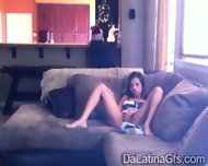 Horny Latina Tapes Herself Masturbating On The Couch - scene 3