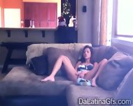 Horny Latina Tapes Herself Masturbating On The Couch - scene 4