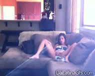 Horny Latina Tapes Herself Masturbating On The Couch - scene 5