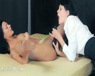 Sleek Babes In Pants Enjoying Strap - scene 4