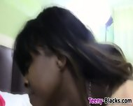 Ebony Teen Gobbles Cock - scene 2