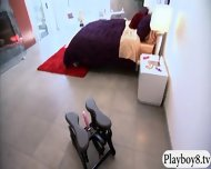 Two Sexy Blonde And Brunette Ladies Foursome In The Bedroom - scene 1