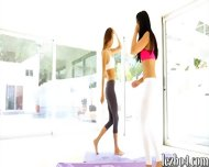Yoga Session Of Alina Li And Adriana That Leads Into Lesbian Sex - scene 3