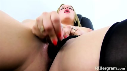 Busty Blonde Alone At Work - scene 4