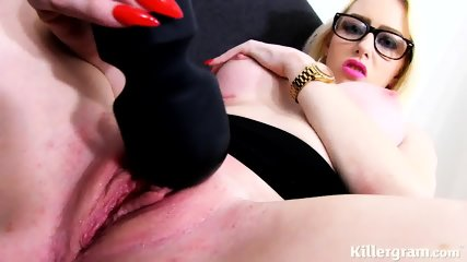 Vulgar Bitch With Glasses Plays With Dildo - scene 9