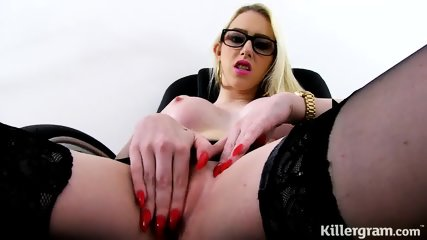 Vulgar Bitch With Glasses Plays With Dildo - scene 4
