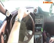 Blonde Bimbo Gives A Road Head While Test Driving Her Car - scene 9