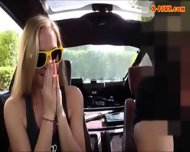 Blonde Bimbo Gives A Road Head While Test Driving Her Car - scene 3