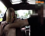 Blonde Bimbo Gives A Road Head While Test Driving Her Car - scene 6