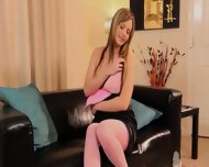 Pink Pantyhose And Super Adorable Boobs - scene 5