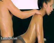 Two Sweaty Pussies In Nylon Pants On Bigbed - scene 9