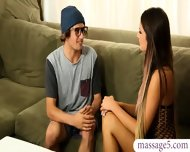 Busty Masseuse August Ames Milking This Nerd Gamers Big Cock - scene 2