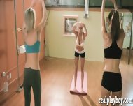 Naked Yoga Session With Big Tits Trainer And Two Brunette Babes - scene 3