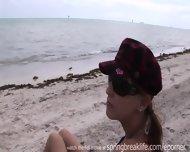 Brunette Gets Naked On Beach - scene 2