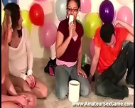 Lesbians Kissing In Amateur Party Game - scene 1