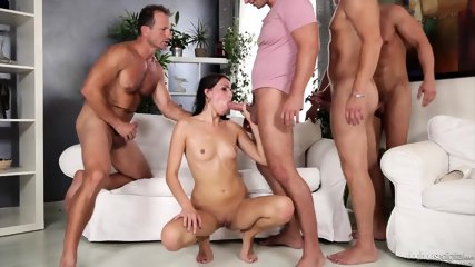 Orgy With Horny Brunette