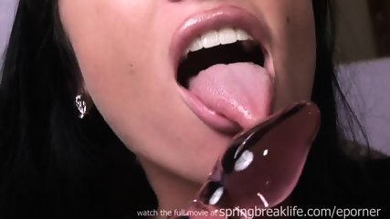 Hot Brunette Masturbates With Glass Dildo - scene 5