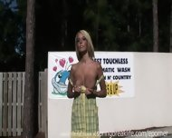 Hot Blonde Totally Naked In Public - scene 1