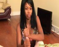 Pierced Nubian Ebony Babe Strokes Cock - scene 12