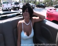 Hot Brunette Flashing Aroung Town - scene 2