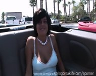 Hot Brunette Flashing Aroung Town - scene 5