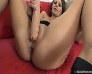Hardcore Anal Sex On Red Sofa - scene 2