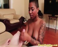 Tattooed Handjob Busty Whore Wanks Dick - scene 4