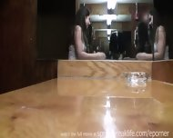 Brunette Flashes In Bar Then Pees - scene 12